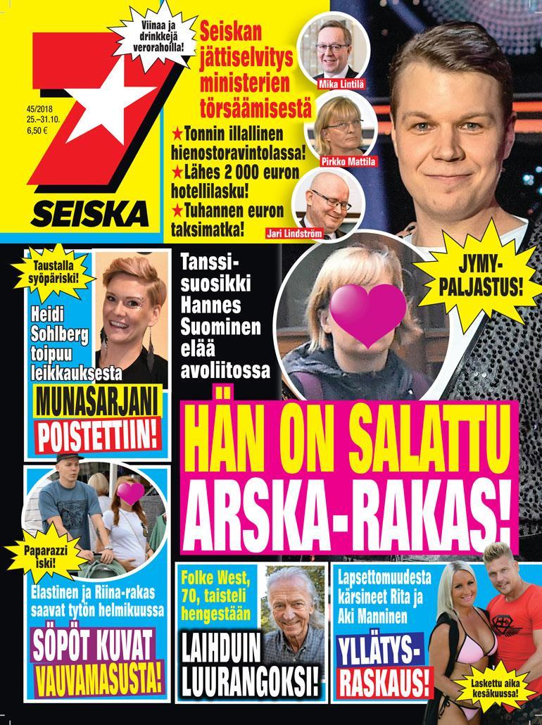 Hannes Suominen ja avovaimo Seiskan kannessa.