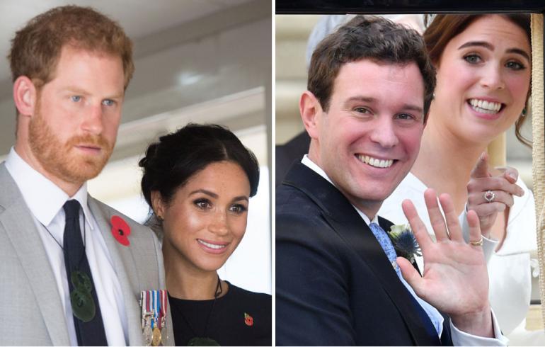 Sussexin herttuapari Harry ja Meghan, prinsessa Eugenie ja Jack Brooksbank