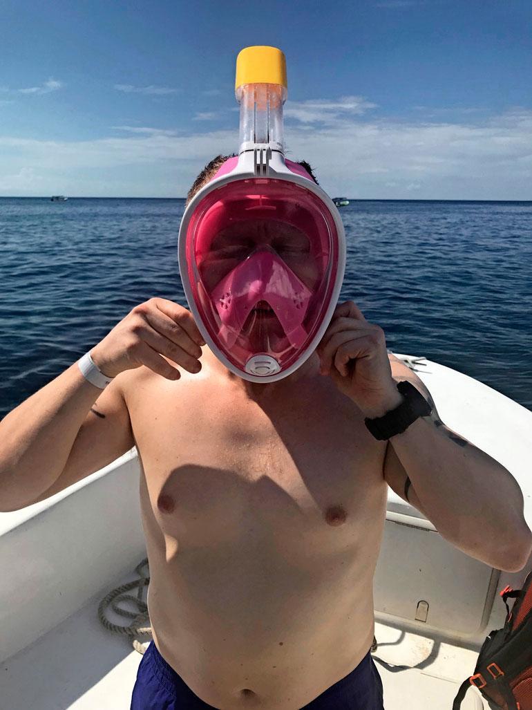 Sampon veikeä snorkalusmaski ihastutti.