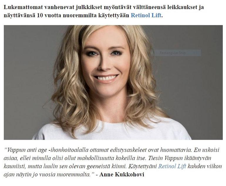 Anne Kukkohovi mainoksessa.