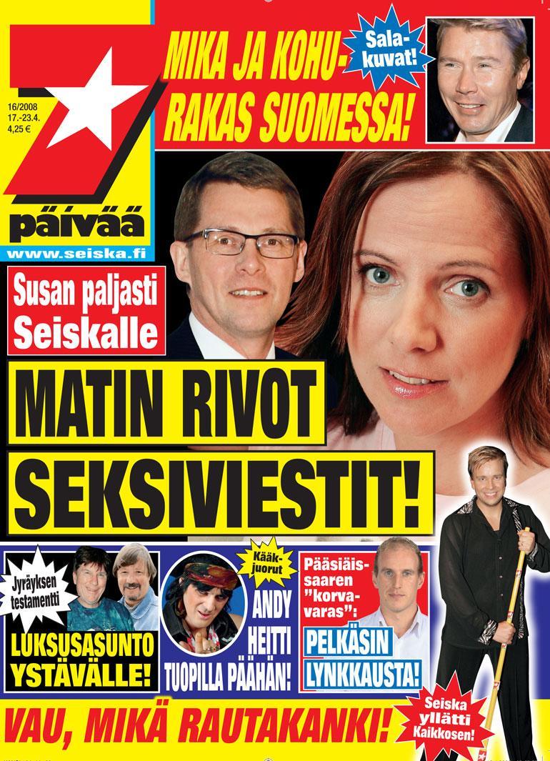 SEISKA 16/2008 Susanin ja Matti Vanhasen suhde oli otsikoissa lähes päivittäin viime vuosikymmenen loppupuolella.