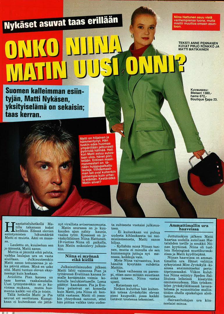 Seiska 6/1992 Matti oli juuri aloittanut keikkailut, kun Seiska teki hänestä ensimmäisen haastattelun.