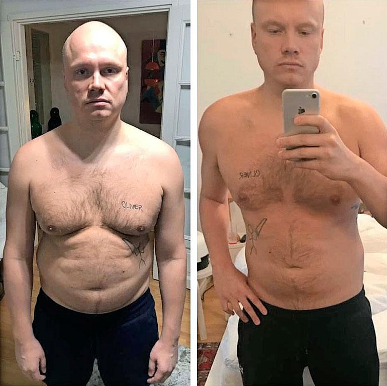 Vasemmassa kuvassa Ilari kärvistelee peilin edessä tammikuun alussa. Oikealla otettu kuva on viime viikolta, kun mies hehkutti laihtumistaan somessa.