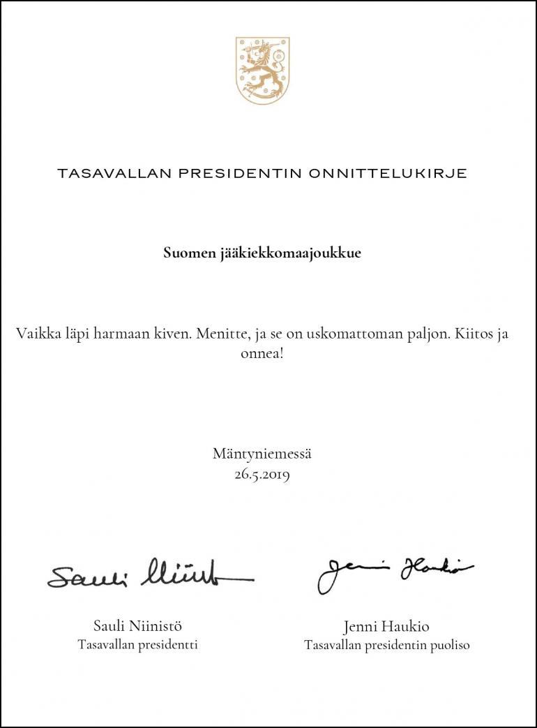 Tasavallan presidentin kirje, julkaisija Leijonat.fi