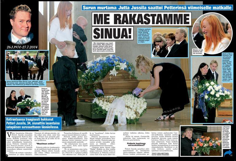 SEISKA 33/2004 – Me rakastamme sua maailman eniten, Jutta Jussila (nyk. Larm) itki Petterin hautajaisissa 2004 lapset ympärillään. Sylissä Max, arkun etualalla Casimir ja Camilla.