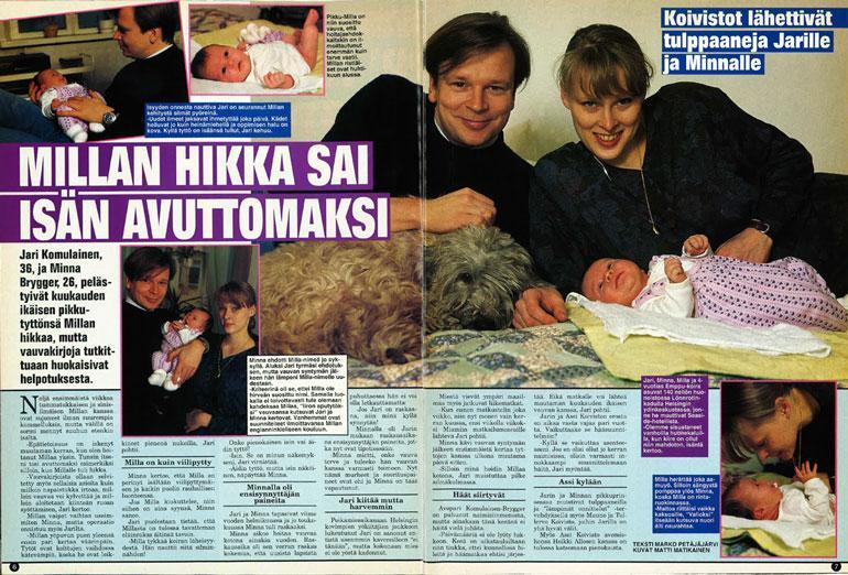 SEISKA 19/1995 Jari ja Milla ovat olleet yhdessä Seiskassa jo 24 vuotta sitten. Tuolloin mukana oli myös äiti Minna Brygger.