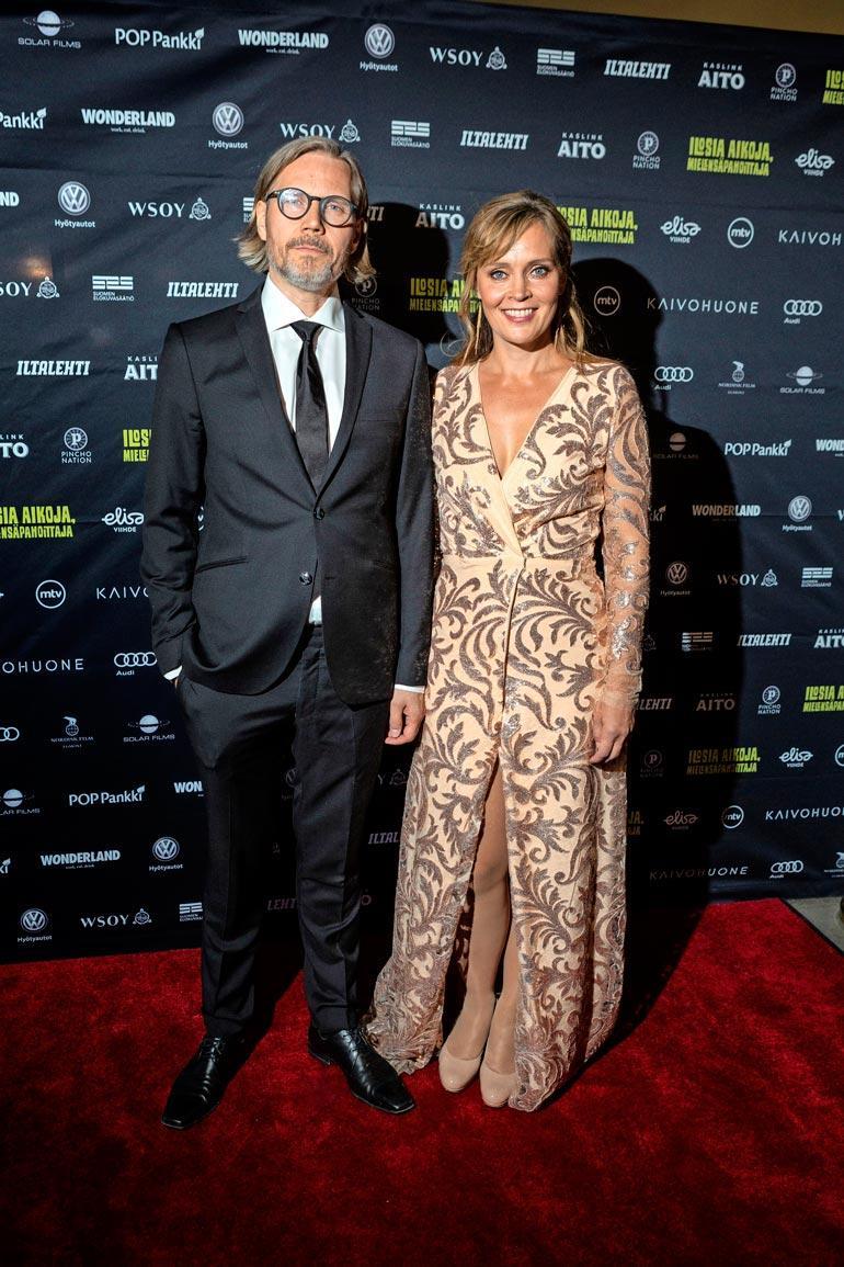 Tuomas ja Tiina esiintyivät yhdessä ensimmäistä kertaa julkisesti viime vuonna Mielensäpahoittaja-elokuvan ensi-illassa.