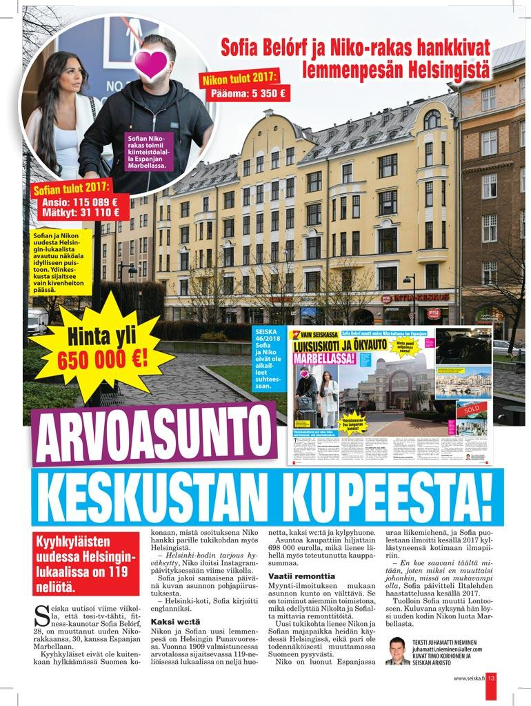 SEISKA 47/2018 Seiska kertoi viime vuonna pariskunnan Helsingin-kodista.