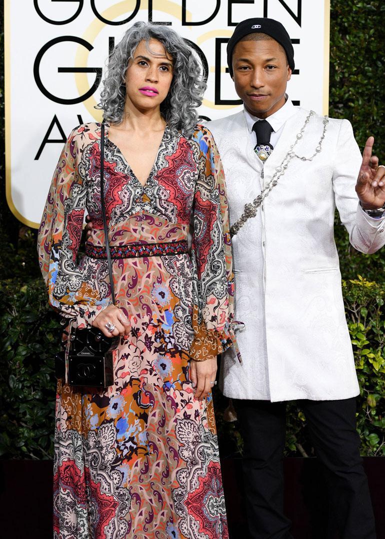 Mimi Valdes, 46, ja Pharrell Williams, 43, saapuivat yhdessä gaalaan. Kaksikko oli tyylillisesti erikoinen näky. Mimin huulipunan sävy oli myös epäonnistunut valinta.