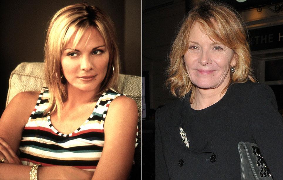 Kim Cattrall vuonna 1998 (vas.) ja 2018