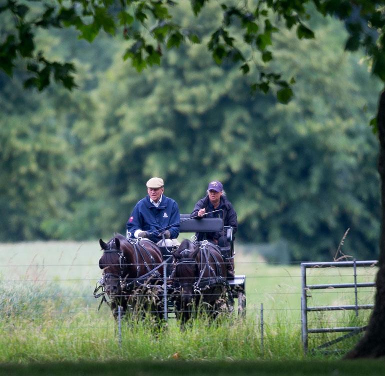 Lonkkaleikkauksesta toipuva prinssi Philip nautti hevoskärryajelusta Windsorin palatsin tiluksilla. Prinssi täytti vastikään 97 vuotta.