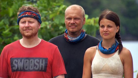 Selviytyjät Suomi. Janni Hussi (oik.), Ilari Sahamies ja Sampo Kaulanen.