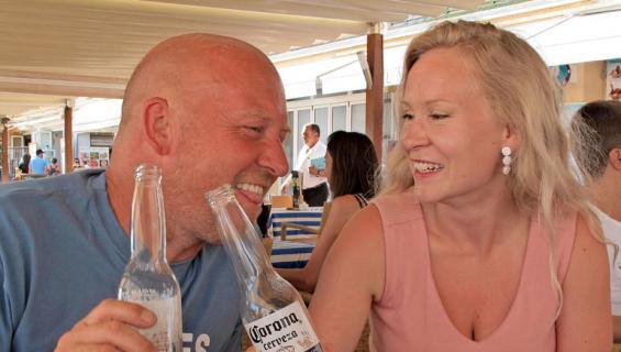 Stefan Richter ja Riikka-rakas lomalla.
