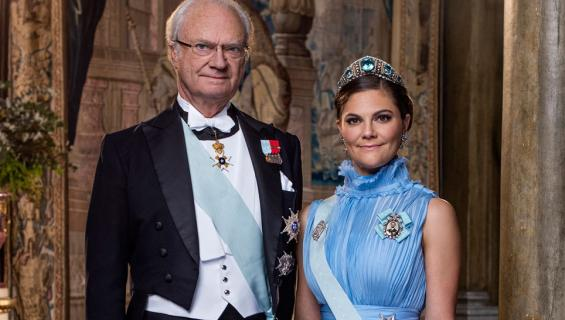 Ruotsin prinsessa Madeleine, kuningas Kaarle Kustaa ja kruununprinsessa Victoria