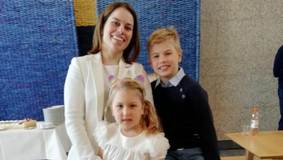 Salla Kuusela ja lapset Max sekä Isabella, Kristian Kuuselan perhe