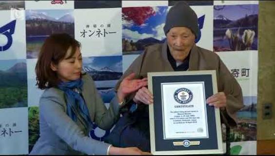 Tässä on maailman vanhin mies: 112-vuotias Masazo rakastaa karkkeja ja kuumia lähteitä - video!