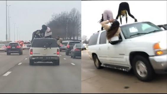 Pakko twerkkaa? Auton päällä tanssineet naiset vaaransivat liikenteen - katso video!