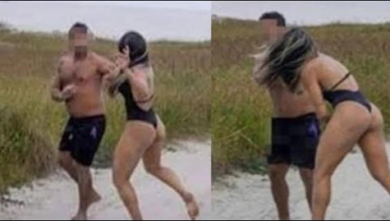 Sitä saa mitä tilaa! Seksikkään vapaaottelijan bikinikuvauksissa tumputtanut häirikkö sai elämänsä opetuksen!