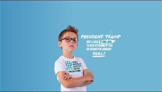 9-vuotias haastaa Donald Trumpin kuukauden vegaanidieetille - täkynä miljoona dollaria veteraanien hyväksi!