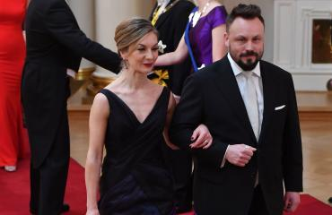 Riku Rantala ja Saija-vaimo Linnan juhlissa