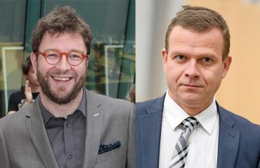 Timo Harakka ja Petteri Orpo olivat vauhdissa ravintola Manalassa.
