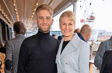 Joel ja Leena Harkimo helsinkiläisravintola Hampton Bayn avajaisissa.