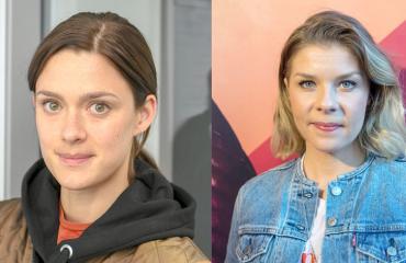 Krista Kosonen ja Armi Toivanen höpöttelivät kadulla.