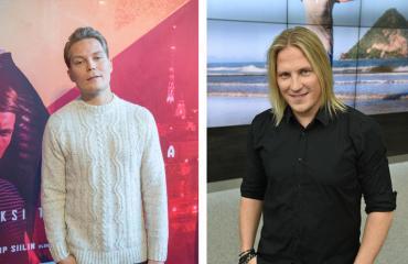 Cheek ja Sami Kuronen nauttivat virvokkeita Jenni Vartiaisen keikalla.