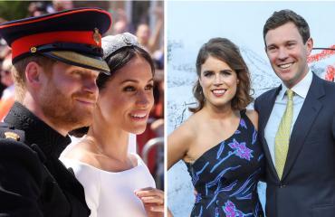 Sussexin herttuapari Harry ja Meghan sekä prinsessa Eugenie ja Jack Brooksbank