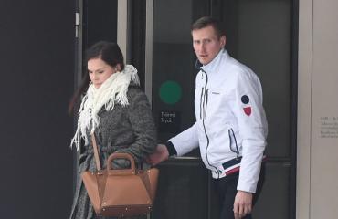 Saija-Reetta Kotirinta oli miehensä mukana oikeudessa.
