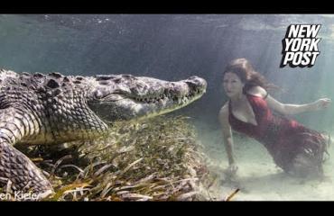 Huh, glamour-mallit laitettiin poseeraamaan vedessä vaarallisen krokotiilin kanssa - video!
