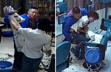 Taistelu parturissa - kampauksestaan raivostunut asiakas ajeli parturinsa väkipakolla kaljuksi!
