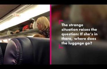 Mitä täällä tapahtuu? Lentoemäntä kiipesi käsimatkatavarahyllylle huilaamaan ennen koneen lähtöä - katso video!