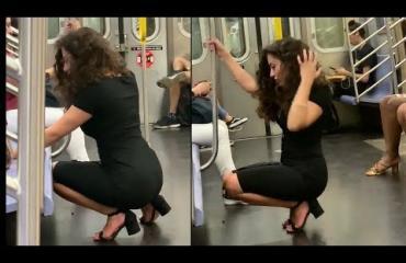 Viraaliksi meni! Kaunis nainen kyykistyi työmatkallaan selfien ottoon metrossa - videolle yli 8 miljoonaa näyttöä!