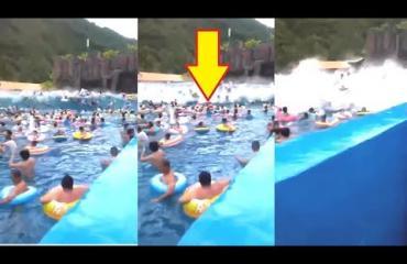 Hirvittävä onnettomuus vesipuistossa: Aaltokone aiheutti tsunamin - 44 ihmistä loukkaantui! Karmea turmavideo julki!